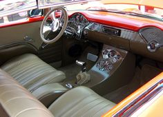 car interior, custom car interior, vintage cars, retro car photography, vintage red interior, car dashboard, car