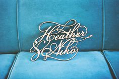 """Heather Niko"" wedding typography #metal #lettering #wedding #typography"