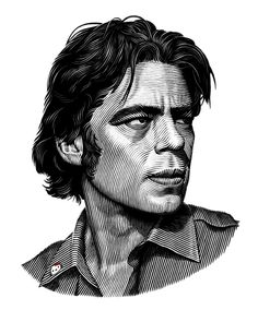 Benecio Del Toro portrait on Behance #illustration #portrait #blackandwhite #linework