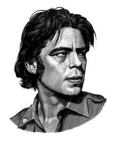 Benecio Del Toro portrait on Behance #illustration #portrait #blackandwhite #linework
