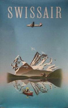 swissair-14.jpg (600×947) #swissair #illustration #poster #lake #mountains