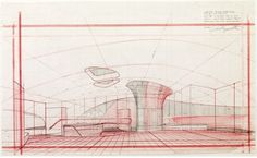 Drawing ARCHITECTURE, J.Lautner #perspectives #renderings #drawings #interiors #architecture