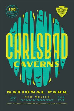 Carlsbad Caverns poster design on Type Hike. Love the style and colors.