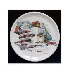 "HERMÃ"" by HELIO BRAY - artandtoys.com #plate #porcelain #art"