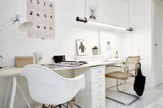 White & other colors #interior #in #workplace #design #of #home #the #street #middle