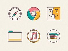 Icons #apple #line #icons #illustration #colour #osx