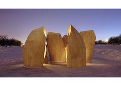Patkau Architects Winnipeg Skating Shelters #wood #architecture #glow
