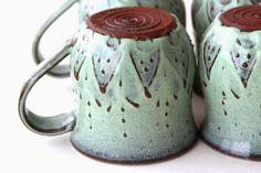 Stoneware Mugs in Aqua Mist - Back Bay Pottery