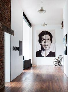 Kevin H. Chung #interior #brick #white #home #wood #hall