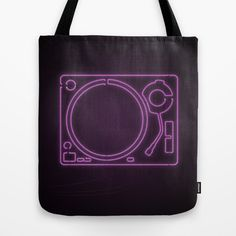 Neon Turntable Tote Bag at Søciety6 #turntable #technics1200 #neonsign #3dart #cinema4d #3drender #rickardarvius