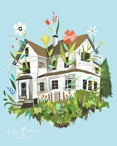 tumblr_m3asg1apcj1qclyefo1_400.jpg (JPEG Image, 400 × 500 pixels) #illustration #house #flowers