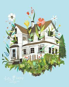 tumblr_m3asg1apcj1qclyefo1_400.jpg (JPEG Image, 400×500 pixels) #illustration #house #flowers