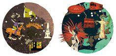 Buenos Aires & Rio de Janeiro Edward McGowan / Colagene.com #horse #woman #rio #city #map #illustration #vintage #brazil