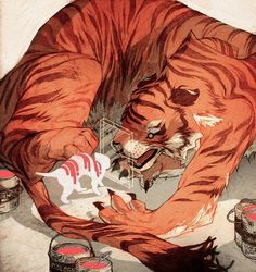 tiger reflection #sachin #cat #illustration #tiger #teng