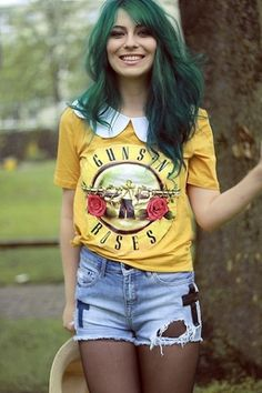Women's Apparel Ideas #hipster #hair #fashion #gunsroses #green