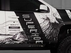 Custom Illustrations for Michigan outdoor themed Truck - Gentex Shot 2 state parks camping great lakes nature outdoors offroad truck wrap colorado chevy truck michigan illustration hand drawn typography full circle branding graphic design design art direction ___ Josh Kulchar