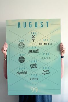 'Whats on' monthly posters #print #poster #geometric #graphic #schedule #monthly
