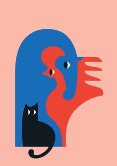 animals, illustration, bold, color, cat