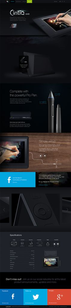 Cintiq13HD Campaign Page on Behance #web