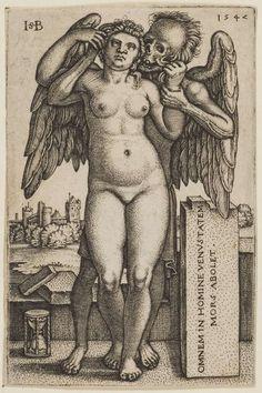 "Hans Sebald Beham, 1547. ""Death destroys all beauty in Man."" #hans #beham #engraving #sebald #latin #skull #death"