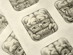 Cryptex App Icon Sketches #icon #ramotion #cryptex #design #brain #iphone #ios #pencil #sketch