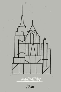 month day year:Manhattan 17mi #lines #city #manhattan #strokes #illustration #buildings