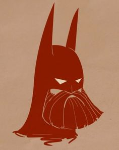 beardbatman.jpg (image) #red #batman #one color #bear