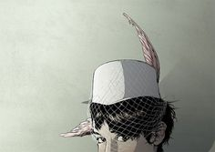 Illustrations | Matthew Woodson | arch|dez|art #eyes #glance #feather #ear #hat #net
