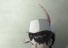 Illustrations | Matthew Woodson | arch|dez|art #eyes #glance #feather #ear #hat #net