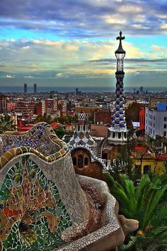 Park Guell (Barcelona, Spain), A unique landscape with the unique mosaic designs, integrated into the countryside staircases, magnificent ca