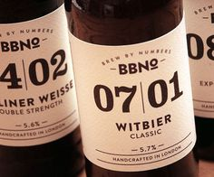 Brewing by Numbers - Minimalist akin to the Kernel bottles but perhaps lacking in appeal. #beer #bottle #packaging #label #package