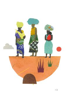 "Veronique Joffre, ""Africa in Crouch End"" exhibition, colagene.com #woman #africa #block #illustration #nature #paper #cutout"