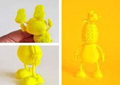 Pineapple Puppet by Niermala B. Timmers www.niermalatimmers.com #timmers #fruit #yellow #orange #dol #puppet #printing #niermala #plastic #pineapple #3d