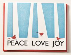 Letterpress Holiday Cards Peace Love Joy Cardinals Set of 12 Christmas Cards