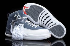 Michael Nike Jordan 12 Grey and White Releasing Mens Basketball Shoes