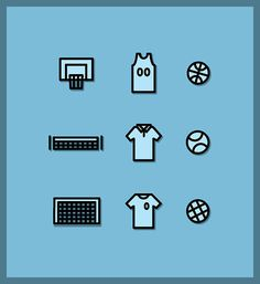 Sporty #tennis #design #icons #soccer #sports #basketball