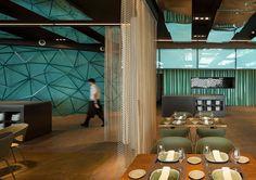 Gold and Turquoise Restaurant Decor in Barcelona -  #restaurant
