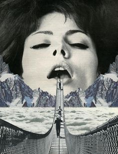 Sammy Slabbinck Collage Illustrations (2) #clouds #woman #photo #lips #manipulation #bridge #collage #sex #mouth