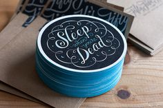 Sleep When You're Dead Coasters #type #lettering #coaster #typography