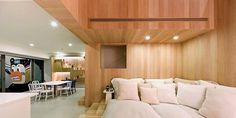 Bear house with wooden walls in living room