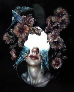 Marco Mazzoni #painting #paint #girl #flowers