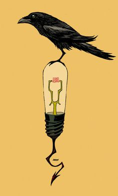 DDSC Raven on bulb, nevermore. by Devilpig on deviantART #devil #raven #lightbulb