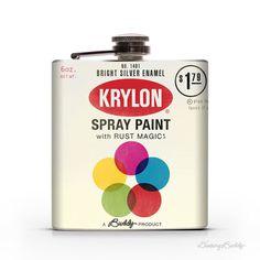 Vintage Krylon Spraycan    6oz Whiskey Hip Flask