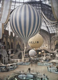 The first air show at the Grand Palais in Paris, France. September 30th, 1909. Photographed in Autochrome Lumière by Léon Gimpel. #air #stripes #balloon #fly #vintage
