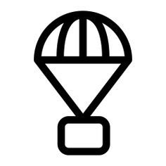 See more icon inspiration related to safe, parachute, landing, delivery, box, parachuting, shipping and delivery and commerce on Flaticon.