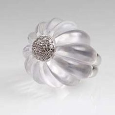 Modern flower cocktail ring with crystal and brilliant-trim