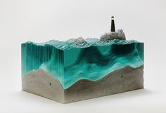 Sheets of Glass Cut into Layered Ocean Waves by Ben Young waves water sculpture glass #ocean #sculpture #water #design #lighthouse #glass #sea #art #waves