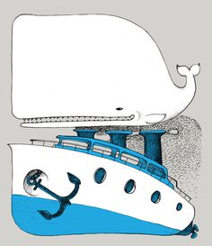 Whale of a boat....www.anditisgood.com #ink #whale #illustration #boat #pen #drawing #nautical