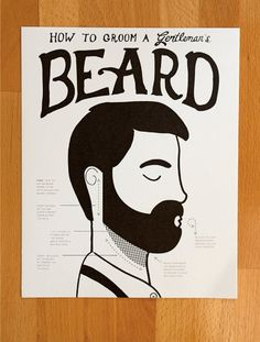 How to Groom a Gentleman's Beard fine art Print by ElloThere #lettering #print #beard #gentleman #art #lucas #seth