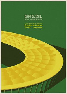 Brazil's world cup stadiums illustrated #design #world #illustrations #stadium #art #football #brazil #cup